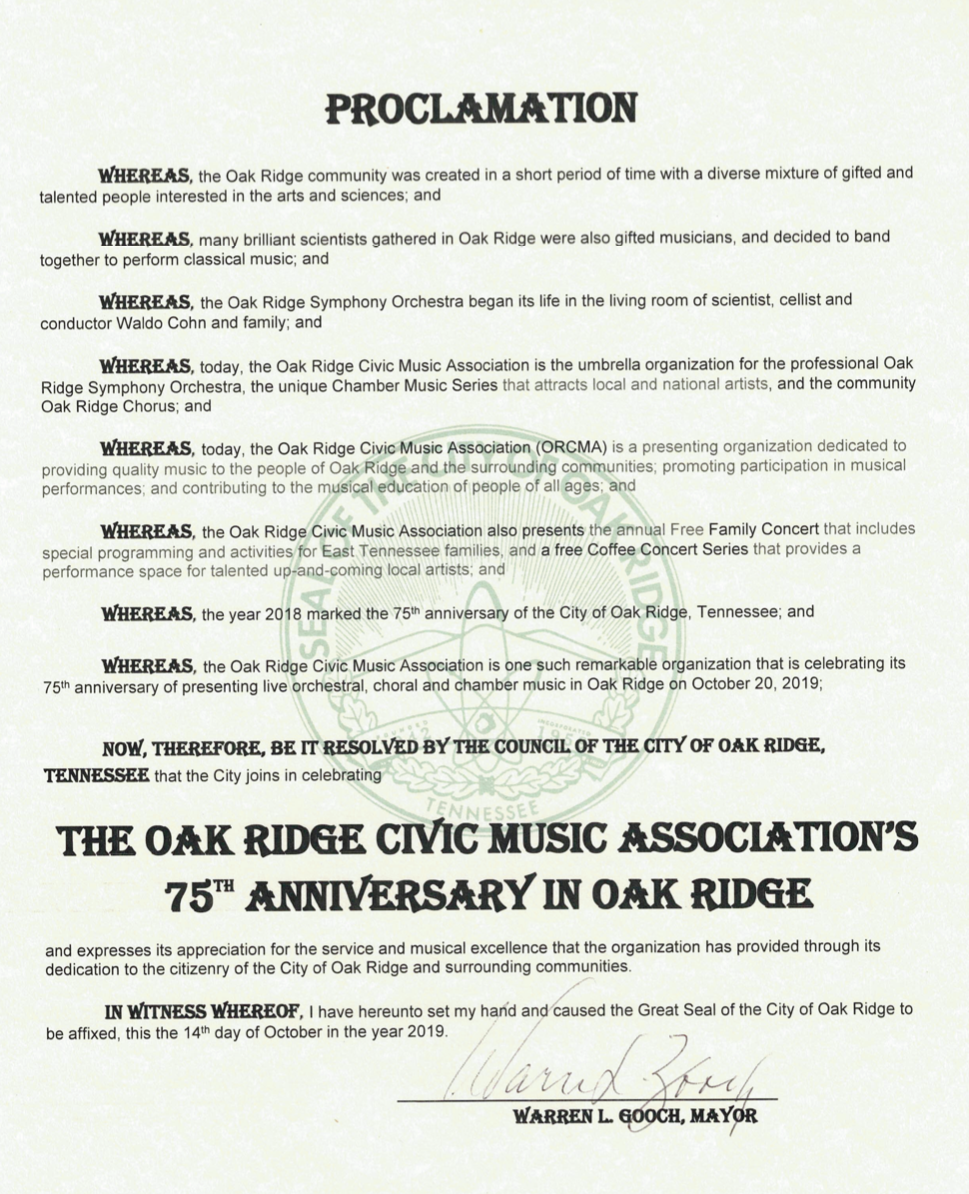 The proclamation honoring ORCMA